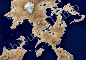 A part of the early Dannan map for my sci-fi novel made in Fractal Terrains 3