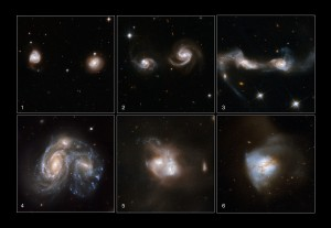 These images show 6 different snapshots of galaxies at different stages of merging.