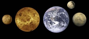 The silicate bodies of the Solar System (Mercury, Venus, Earth, the Moon and Mars). Image courtesy NASA/JPL-Caltech.