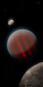 Children of the Demon Planet. The massive Brown Dwarf with its array of moons, by Christian Thrower*